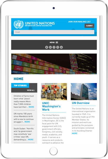 A WordPress website developed by Advanced Systemics for the United Nations Information Center, Washington DC
