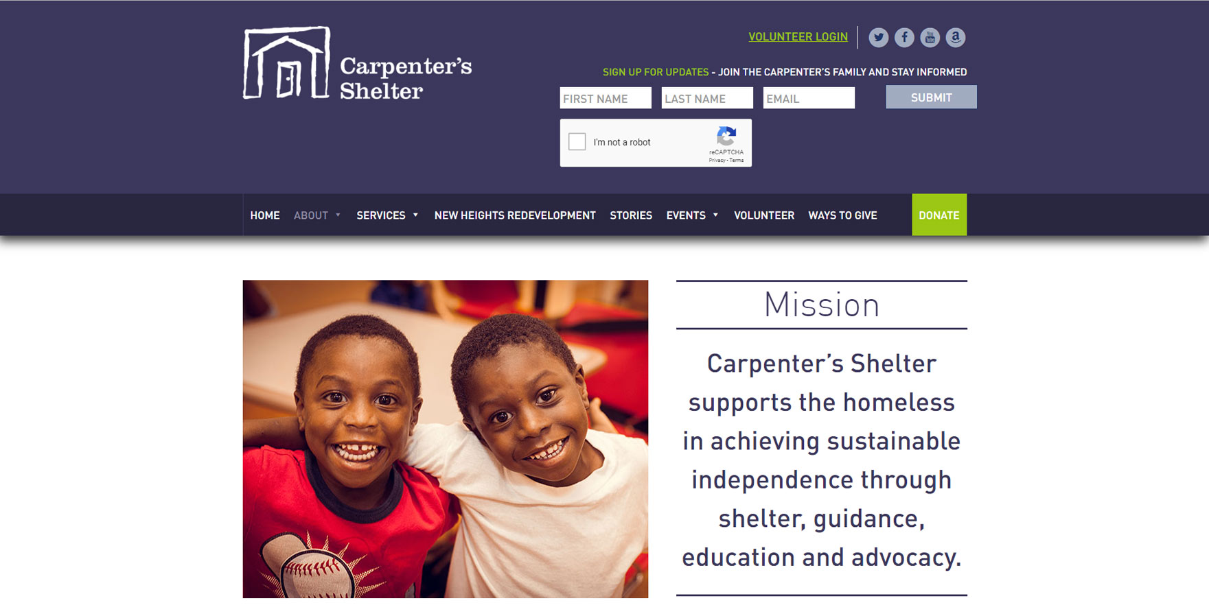 A WordPress website developed by Advanced Systemics for Carpenter's Shelter in Alexandria, Virginia