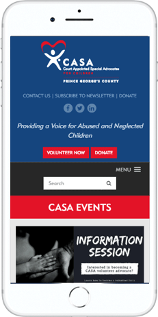 A WordPress website developed by Advanced Systemics for CASA Prince George's County