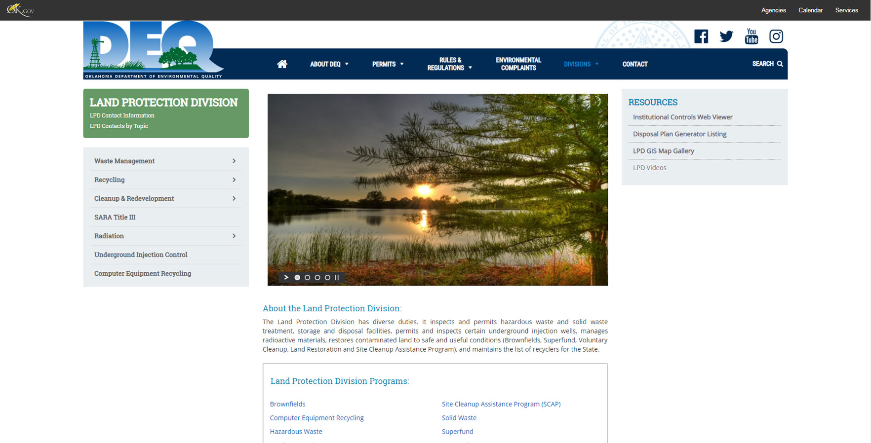 A WordPress website developed by Advanced Systemics for Department of Environmental Quality