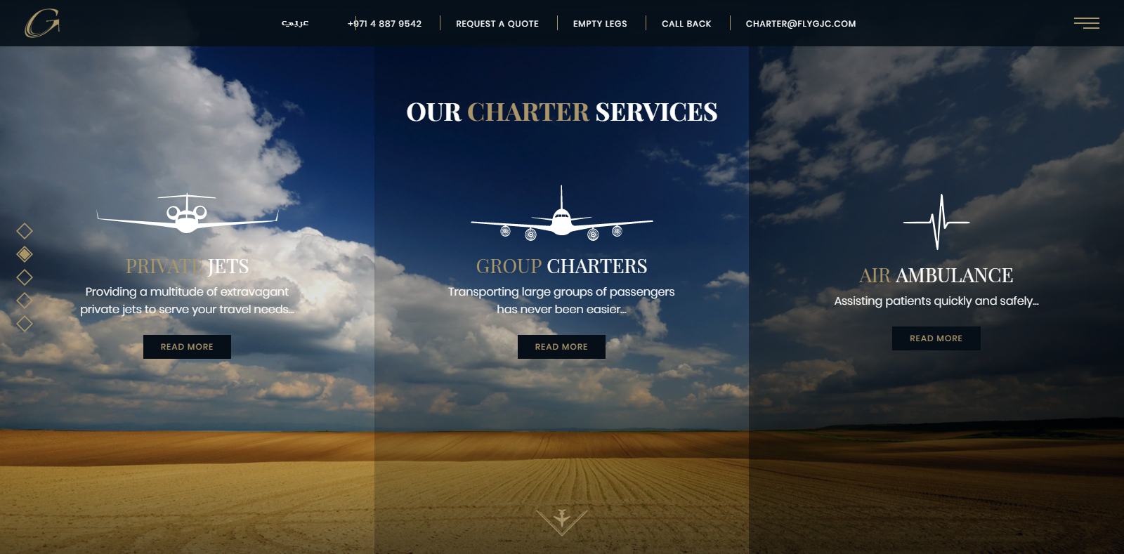 A WordPress website developed by Advanced Systemics for Global Jets, Dubai
