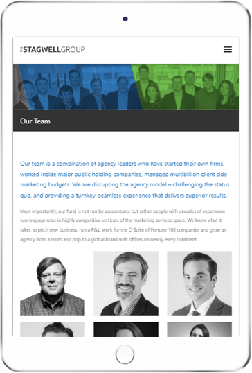 A WordPress website developed by Advanced Systemics for the Stagwell Group