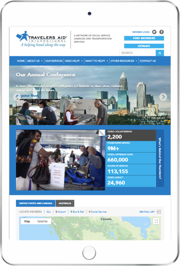 A WordPress website developed by Advanced Systemics for the Travelers Aid International